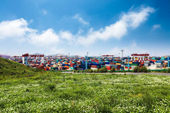 Containers in the port of yangshan in shanghai. Royalty Free Stock Photos