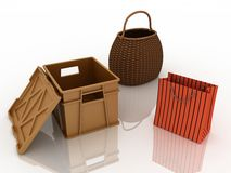 Containers for purchases Royalty Free Stock Photo