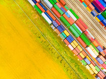 Containers at railway. Stock Photography