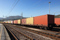 Containers in railway station Royalty Free Stock Image