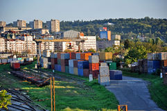 Containers on the railway station Stock Image