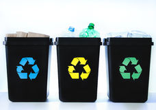 Containers for recycling - plastic, glass, paper Stock Images