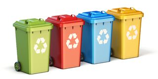 Containers for recycling waste sorting plastic, glass, metal, pa. Per side view Royalty Free Stock Photos