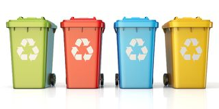 Containers for recycling waste sorting plastic, glass, metal, pa. Per front view 3D render illustration isolated on white background Stock Photography