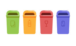 Containers for recycling waste sorting. Vector illustration of containers for recycling waste sorting Stock Image
