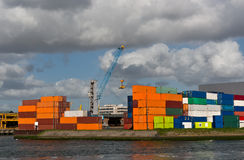 Containers at Rotterdam port Royalty Free Stock Images