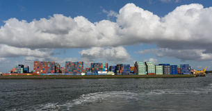 Containers in Rotterdam port Royalty Free Stock Image
