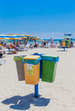 Containers for rubbish division on types of waste.  Resort Albena Stock Photos