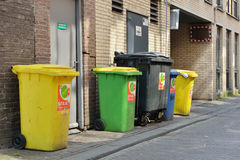 Containers for rubbish on street of Hague Stock Image