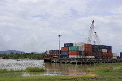 Containers at sea port of Kantang River Stock Images