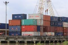 Containers at sea port of Kantang River Royalty Free Stock Photos