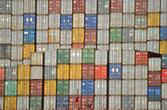 Containers on ship at Felixstowe docks royalty free stock photography