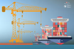 Containers ship, high-altitude crane Royalty Free Stock Images
