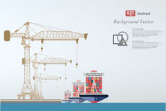 Containers ship, high-altitude crane with a container background abstract illustration Royalty Free Stock Photos