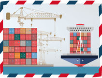 Containers ship, high-altitude crane with a container, sea port. Vector abstract Stock Photography