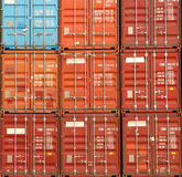 Containers shipping. Cargo shipping containers stacked up at port stock photo