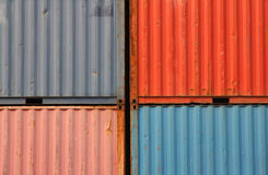 Containers shipping. Cargo shipping containers stacked up at port royalty free stock photo