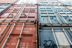 Containers shipping. Cargo shipping containers stacked up at port stock images