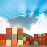 Containers shipping. Cargo shipping containers stacked up at port stock photos