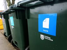 Containers for sorting garbage. Green garbage bins for a clean environment Royalty Free Stock Photos