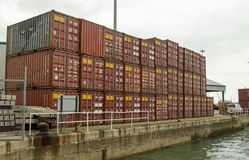 Containers, Southampton Docks. SOUTHAMPTON, UK  MAY 31, 2014:  A small stack of shipping containers on the dockside at Southampton, Hampshire Royalty Free Stock Images