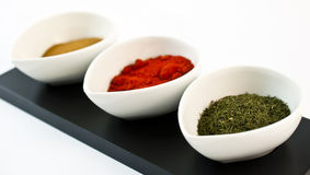Containers with spices. Detailed view of a containers with spices Stock Image