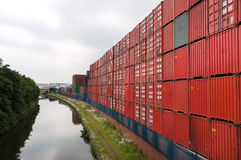 Containers stacked at a container port, Trafford Park, Manchester Royalty Free Stock Photo