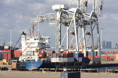 Containers stacked at harbor Royalty Free Stock Images