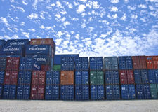CONTAINERS STACKED ON PILE Royalty Free Stock Images