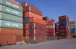 Containers Stacked and Stored at Durban Harbor Stock Photo