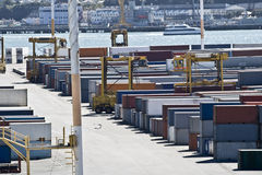 Containers stacked on Wharf Royalty Free Stock Photo