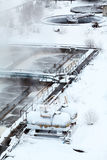 Wastewater treatment plant in winter Stock Image