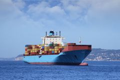 Containers transport, starboard side Royalty Free Stock Images