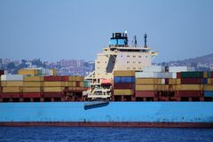 Containers transport, starboard side Royalty Free Stock Photography
