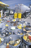 Containers of used oil and other toxic household chemicals awaiting further disposal at a Unocal station in Los Angeles, Californi Stock Photos