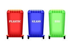 Containers voor huisvuil Afvalscheiding Het behandelen van het milieu Stock Fotografie