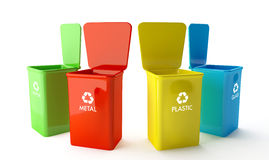Containers voor recycling Royalty-vrije Stock Foto's