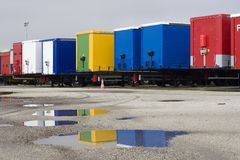 Containers at warehouse Royalty Free Stock Photos