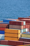 Containers warehouse and sea Stock Photography