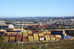 Containers and Warehousing Against Suburban Skyline Royalty Free Stock Photography