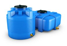 Containers for water. Of different shapes. 3d rendering Stock Photo