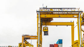 Containers wharf and container cranes Stock Photography