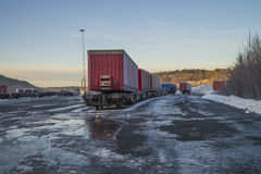 Containers on the wharf in halden Stock Images