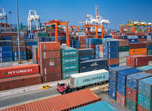 Containers yard. Shipping containers yard rail transport in Thailand Royalty Free Stock Image