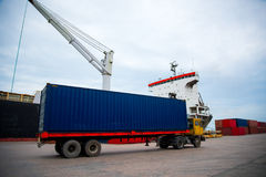 The containers. Yard in thailand royalty free stock photography