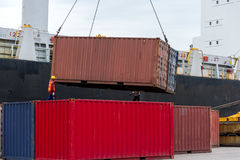 The containers. Yard in thailand royalty free stock images