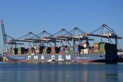 Containerschiff CMA-CGM Magellan lizenzfreies stockfoto