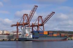 Das Containerschiff Stockbild