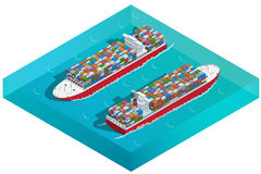 Containerschiff-, Tanker- oder Frachtschiff mit Behälterikone Flacher isometrischer Transport der hohen Qualität 3d Fahrzeuge ent Lizenzfreie Stockfotografie