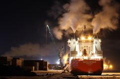 Containerschiff Zapolyarnyy Stockfoto